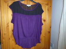 Purple dipped hem top, black mesh shoulders, designer DAYDREAMER LA, M UK 12-14