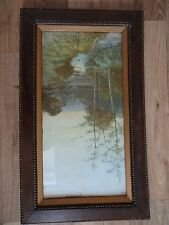 """Vintage Large Wooden Frame-Beaded decoration -29.5"""" x 17.5"""".Picture 25"""" x 13.5"""""""