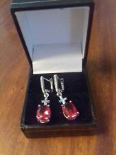 Silver Plated Earrings With Raspberry Red Garnet Style Stones