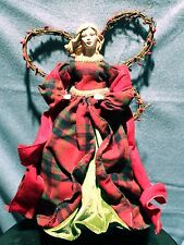 """COUNTRY ANGEL CHRISTMAS TREE TOPPER 16"""" Beautiful Red Plaid Classic Holiday NEW"""