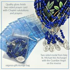 Saint Michael Chaplet with prayer card - St Michael Chaplet - prayer beads/bag