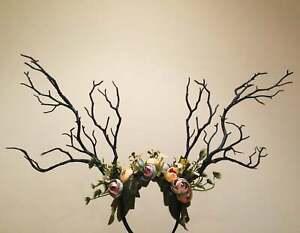 Black Branch Horn Flowers Nymph Forest Horn Headdress Headwear Antlers Costume