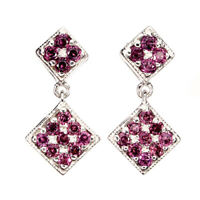 Unheated Round Rhodolite Garnet 2mm Natural 925 Sterling Silver Earrings