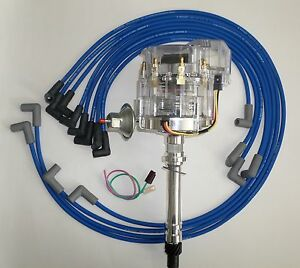 CHEVY 350 SBC CLEAR Super HEI Distributor & BLUE SPARK PLUG WIRES under exhaust
