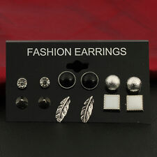 6Pairs Various Shape Crystal Ear Studs Earrings Set Women Jewelry Gifts Feather