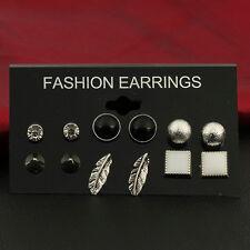 6Pairs Various Shape Gemstone Crystal Ear Studs Earrings Set Women Jewelry Gifts