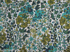 """LIBERTY OF LONDON TANA LAWN FABRIC DESIGN """"Edna"""" 2.8 METRES TURQUOISE/LIME"""