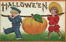 V Hallowe'en Children Carrying a Pumpkin Hallowe'en Vintage Postcard