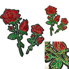 Sequin Embroidered Rose Flower Applique Badge Floral Sew Patch Sewing Craft New
