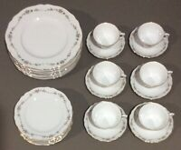 "Franconia Krautheim ""Gloria"" Service for 6 Dinner Plates, Salad Tea Cups Saucers"