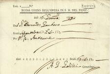 Documento a Firma G. Galilei Regio Uffizio Opera di Santa Maria del Fiore 1799