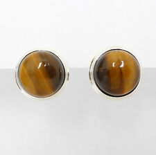 925 Sterling Silver Cabochon TIGER'S EYE Double Bezel 18mm Clip-on EARRINGs