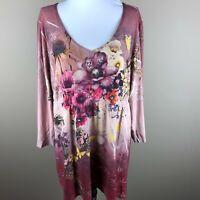 Venezia Women's 3/4 Sleeve Tunic Top Blouse Plus Size 14/16 Pink Purple, Floral