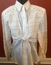 Lady's 1849 Authentic Ranchwear Ivory Embellished Button Down Shirt Sz Small