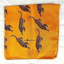 70s Vintage Polo Ralph Lauren Pocket Square Scarf 100% Silk Italy Gold Leopard