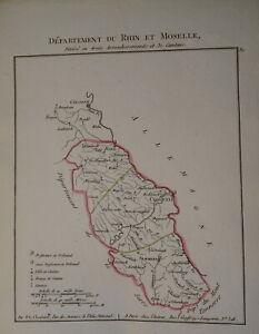 BELLE CARTE RHIN MOSELLE NAPOLEON EMPIRE RHEIN MOSEL KOBLENZ KARTE 1802