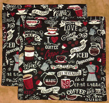 "T.T. ""Daily Special Coffee"" Set of 2 (8"") Handmade-Quilted-Insulated-Hot Pads"