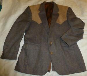 44R CIRCLE S Western Ranch Fancy Suede Tweed Blazer Sport Coat Jacket USA Texas