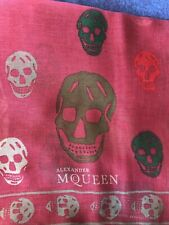Alexander McQueen Crimson Red Scarf With Multicolour Skull Motifs Authentic New