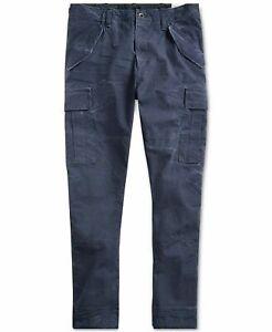 NEW Polo Ralph Lauren Men's Slim Fit Canvas Cotton Cargo Pants, Navy 40x30