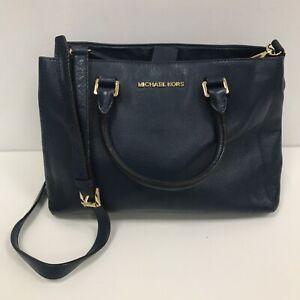 Michael Kors Bag Navy Textured Leather Detachable Adjustable Strap Zip 111478