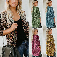Women Leopard Loose Long Sleeve Cardigans Jacket Coat Outwear Baggy Casual Tops