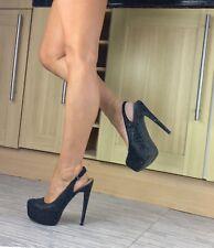 River Island Shoes Size 6, All Over Jet Black Diamanté's Slingback High Heels