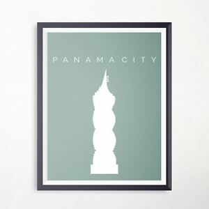 Panama City F&f Tower Travel Poster Landmark Artwork Vintage