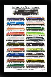 """Norfolk Southern Heritage 11""""x17"""" Poster in 12"""" x 18"""" mat Andy Fletcher signed"""