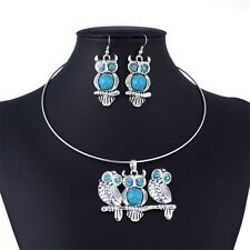 Blue Tibet Silver Red Acrylic Crystal Owl Dangle Earrings Necklace Jewelry Set