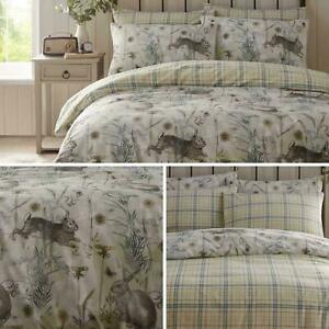 RABBIT MEADOW Duvet Cover Sets Single  Double  King   Super King   Sage Green