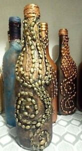Beautiful  Handmade Beaded Pirates Rum Bottle Decorated Wine Bottle with Lights