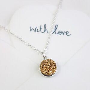 Gold Druzy Sparkle Pendant Drop Necklace - Sterling Silver