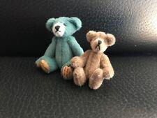 Little Gem Teddy Bear, Teal Bear and tiny brown bear, 1996, miniature