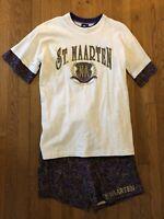 VTG 90's St. Maarten T Shirt Shorts Set Womens Retro Size XL Purple Paisley