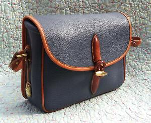 Vintage Dooney and Bourke Large Loden Shoulder Bag ~ Blue / Tan ~ U.S.A.