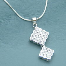 "CZ Cubic Pendant 20"" Chain Necklace 925 Silver Mid Century Modern Retro Style"