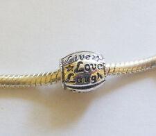 """1 Metal Antique Silver  """"Live,Love,Laugh """" Charm Bead - Fit Charm Bracelet"""
