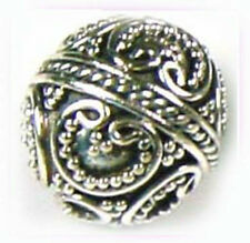 2x 925 Sterling Silver ornate bali Bead Spacer 11.5mm round light oxidized  B108