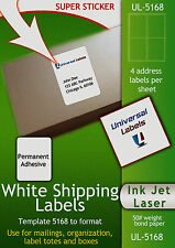 "5000 labels (4) labels per sheet - Stamps.com SDC-4650 Compatible - 4""x5"" size"