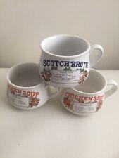 SOUP RECIPE CUPS / MUGS X 3 Chicken And Scotch Broth