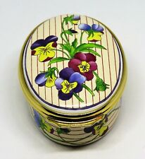 Halcyon Days English Enamel Box - Viola Tricolor Flowers - Pansy - Pansies - Mib