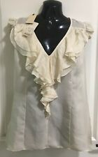 TED BAKER 100% SILK Punched Silk Ruffle Blouse in Cream, Sz 3 BNWT RRP $269