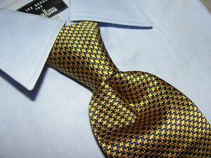 New CHARLES TYRWHITT  Men's Luxury Silk Gold/Blue Houndstooth Tie