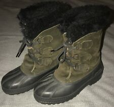 Sorel Tivoli? Duck Snow Boots Women's Size 5 Suede Green Lined GUC