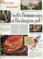 Orig Swift's Premium Ham DC poll Magazine Ad The American Home Nov 1939 2-sided