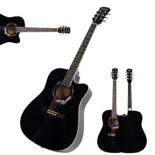 New 41 Inch Adult Size 20 Frets Cutaway Acoustic Guitar Black for Beginner