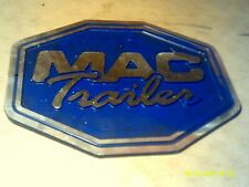 Vintage Metal MAC Trailer Cast Aluminum Sign Plaque Emblem Logo Decal Blue 10X13