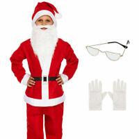 KIDS SANTA CLAUS COSTUME 5 PIECE BUDGET FATHER CHRISTMAS SUIT UNISEX FANCY DRESS