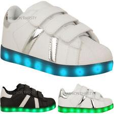 Kids Girls Boys Trainers Flashing LED Luminous Lights USB Charger Size